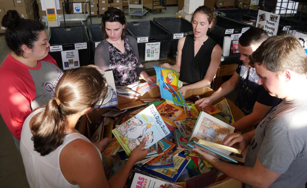 Volunteers at the Cleveland Kids' Book Bank