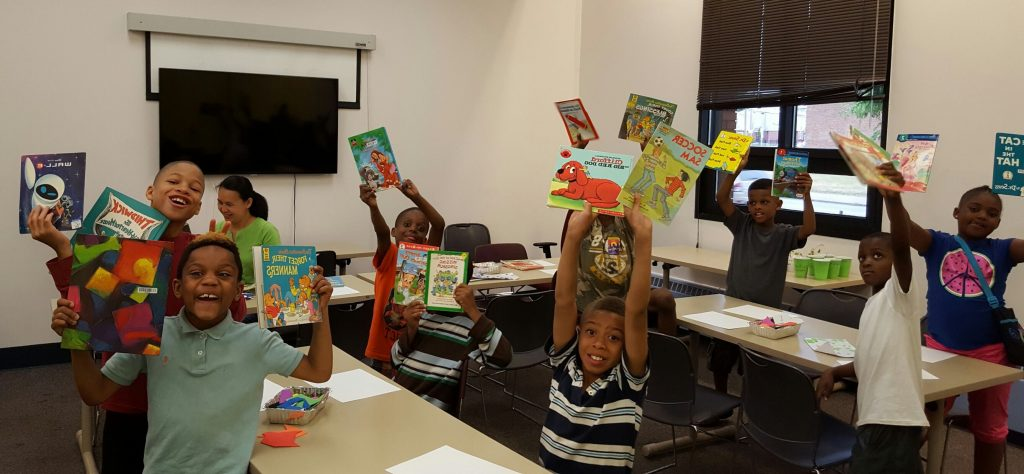 Students at Marion Sterling School rejoice at receiving books from the Cleveland Kids' Book Bank