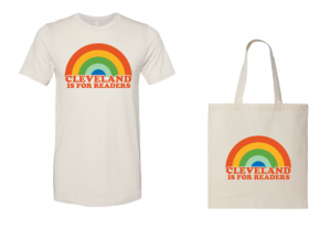 Cleveland Kids' Book Bank Cleveland Is for Readers T-shirt and tote bag