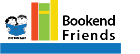 colorful books with text Bookend Friends to right and Cleveland Kids' Book Bank logo to left serving as bookends