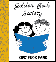 Golden Book Society text with Kids' Book Bank logo