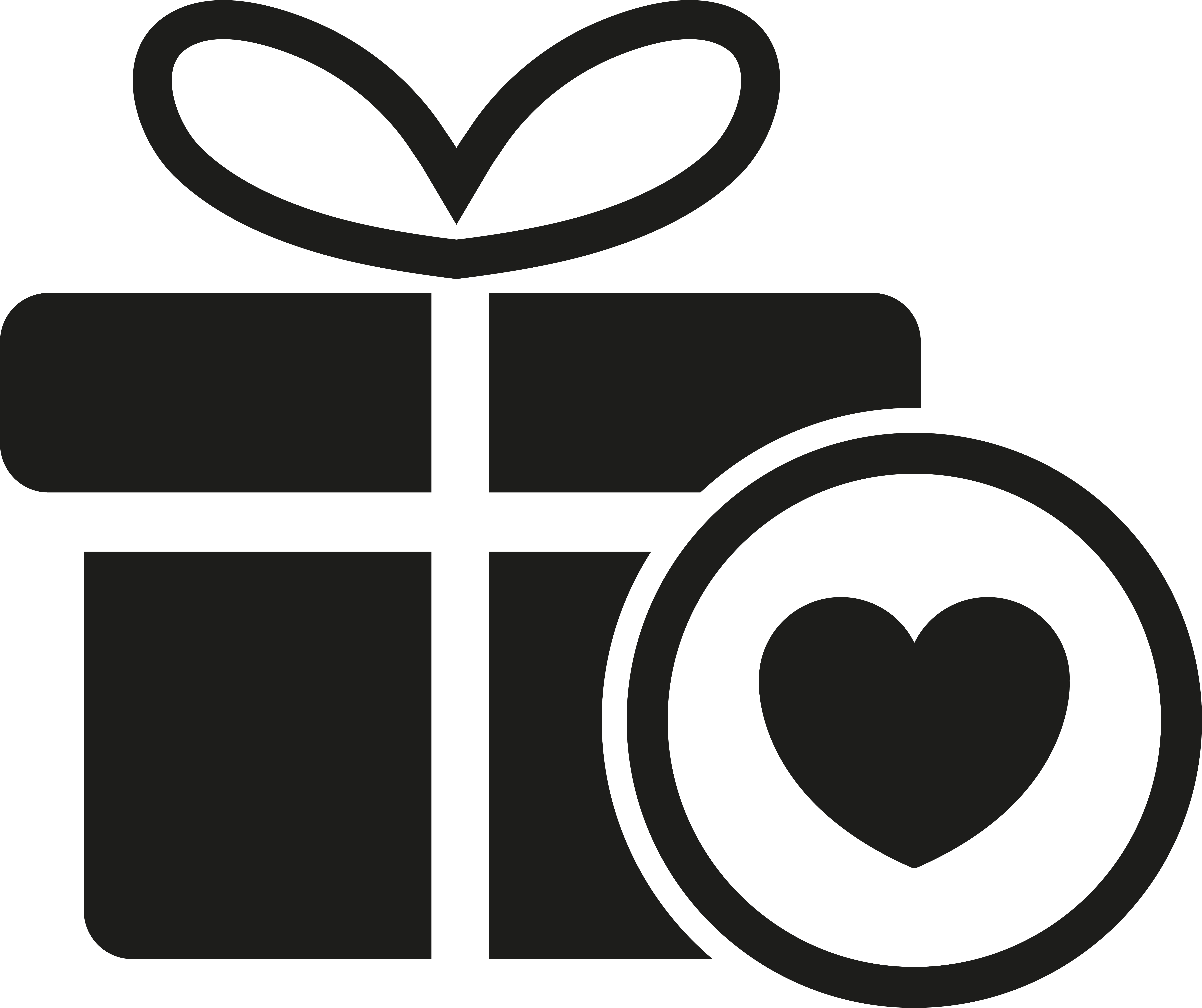 black and white icon of a gift with bow and a heart in a circle